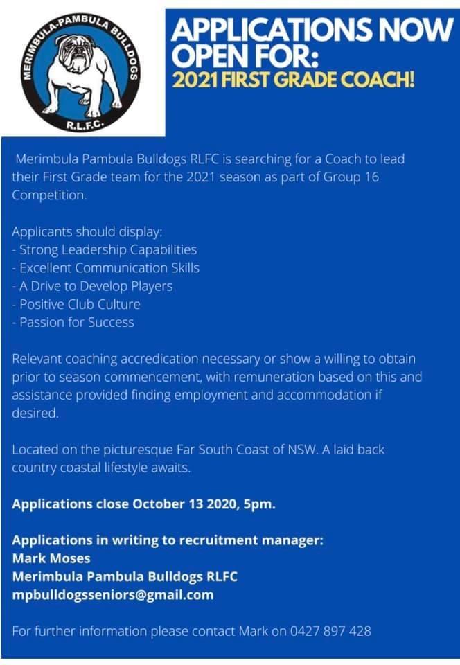 applications for coach - merimbula pambula bulldogs NRL